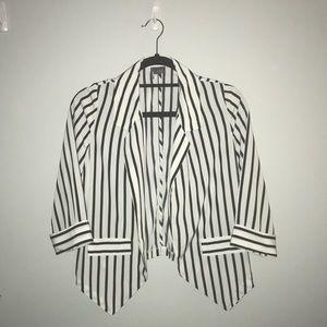 White and black striped blazer